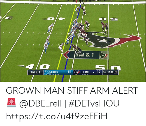 stiff: 3Bd&1  40  3rd &1  10  17 3rd 12:06:07  LIONS  TEXANS GROWN MAN STIFF ARM ALERT 🚨  @DBE_rell | #DETvsHOU https://t.co/u4f9zeFEiH