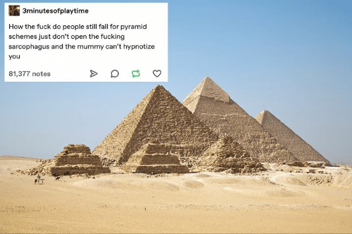 How The Fuck: 3minutesofplaytime  How the fuck do people still fall for pyramid  schemes just don't open the fucking  sarcophagus and the mummy can't hypnotize  you  81,377 notes