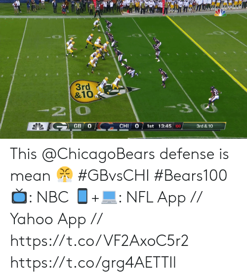 chi: 3rd  &10  -20  GB  1st 13:45 :00  CHI  3rd & 10 This @ChicagoBears defense is mean 😤 #GBvsCHI #Bears100  📺: NBC  📱+💻: NFL App // Yahoo App // https://t.co/VF2AxoC5r2 https://t.co/grg4AETTIl