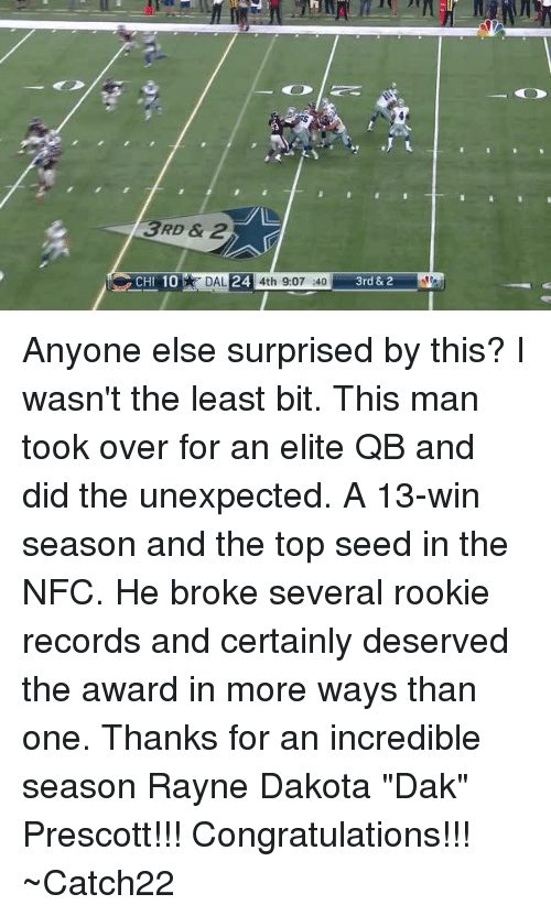 """Unexpectable: 3RD & 2  24  CHI 10  DAL  4th 9:07 :40  3rd &2 Anyone else surprised by this?  I wasn't the least bit.  This man took over for an elite QB and did the unexpected.  A 13-win season and the top seed in the NFC.  He broke several rookie records and certainly deserved the award in more ways than one.  Thanks for an incredible season Rayne Dakota """"Dak"""" Prescott!!!  Congratulations!!!  ~Catch22"""
