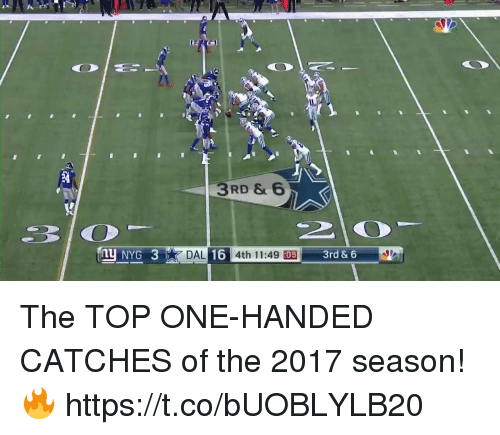 Memes, 🤖, and Top: 3RD & 6  4th 11:49 :05 The TOP ONE-HANDED CATCHES of the 2017 season! 🔥 https://t.co/bUOBLYLB20
