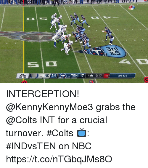 crucial: 3rd  8.5  e-6 IND  24  96 TEN 17 4th 9:17 :05  3rd & 5 INTERCEPTION!  @KennyKennyMoe3 grabs the @Colts INT for a crucial turnover. #Colts  📺: #INDvsTEN on NBC https://t.co/nTGbqJMs8O
