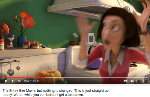 Bee Movie, Piracy, and Movie: 4)  24:32 / 1:35:21  The Entire Bee Movie, but nothing is changed. This is just straight up  piracy. Watch while you can before I get a takedown