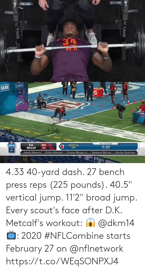 "february: 4.33 40-yard dash.  27 bench press reps (225 pounds).  40.5"" vertical jump.  11'2"" broad jump.   Every scout's face after D.K. Metcalf's workout: 😱 @dkm14   📺: 2020 #NFLCombine starts February 27 on @nflnetwork https://t.co/WEqSONPXJ4"