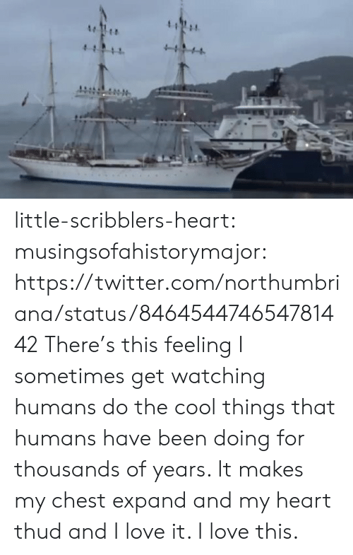 Love, Tumblr, and Twitter: 4  4  411 little-scribblers-heart:  musingsofahistorymajor:   https://twitter.com/northumbriana/status/846454474654781442   There's this feeling I sometimes get watching humans do the cool things that humans have been doing for thousands of years. It makes my chest expand and my heart thud and I love it. I love this.