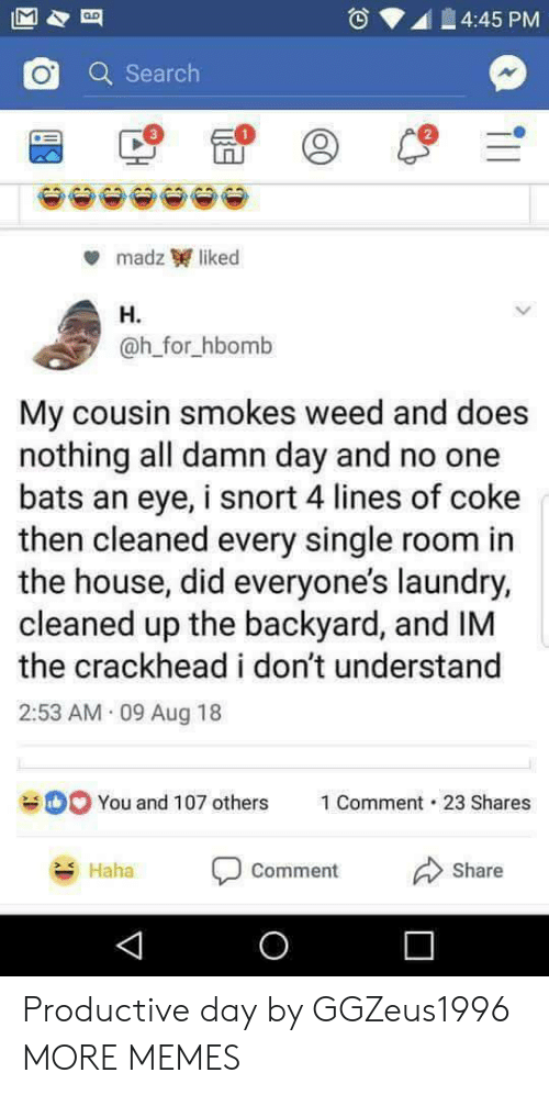 Crackhead, Dank, and Laundry: 4:45 PM  Q Search  2  madz liked  H.  @h_for_hbomb  My cousin smokes weed and does  nothing all damn day and no one  bats an eye, i snort 4 lines of coke  then cleaned every single room in  the house, did everyone's laundry,  cleaned up the backyard, and IM  the crackhead i don't understand  2:53 AM 09 Aug 18  You and 107 others  1 Comment-23 Shares  Haha  comment  Share Productive day by GGZeus1996 MORE MEMES