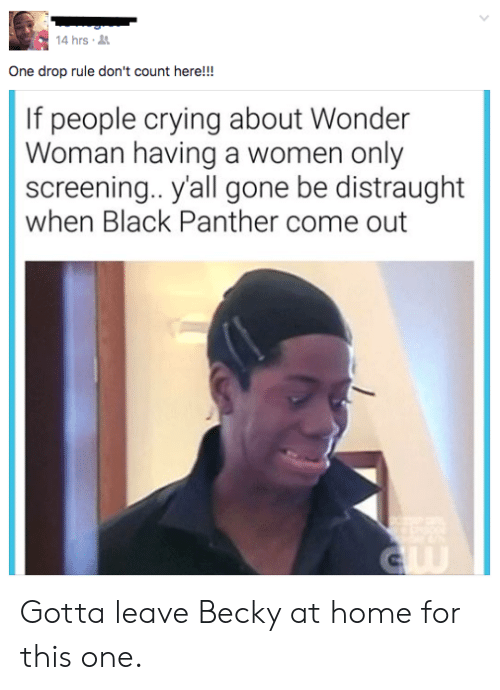 Crying, Black, and Black Panther: 4 hrs  One drop rule don't count here!!!  If people crying about Wonder  Woman having a women only  screening.. yall gone be distraught  when Black Panther come out Gotta leave Becky at home for this one.
