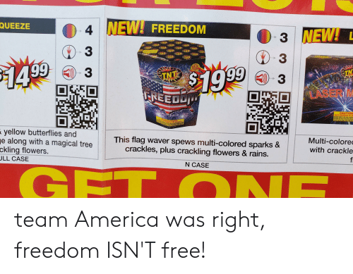 team america: 4 NEW! FREEDOM  QUEEZE  3 NEW!L  )3  3  99  GLO  FUZE  TAS1999  3  14  TN  TNT  3  LASER M  UFNEEDD  CAUTION  EMITS SHOWERS OF SP  it  645  This flag waver spews multi-colored sparks&  yellow butterflies and  e along with a magical tree  ckling flowers.  JLL CASE  Multi-colorec  crackles, plus crackling flowers & rains.  with crackle  f  N CASE  GFT ONE  EP team America was right, freedom ISN'T free!
