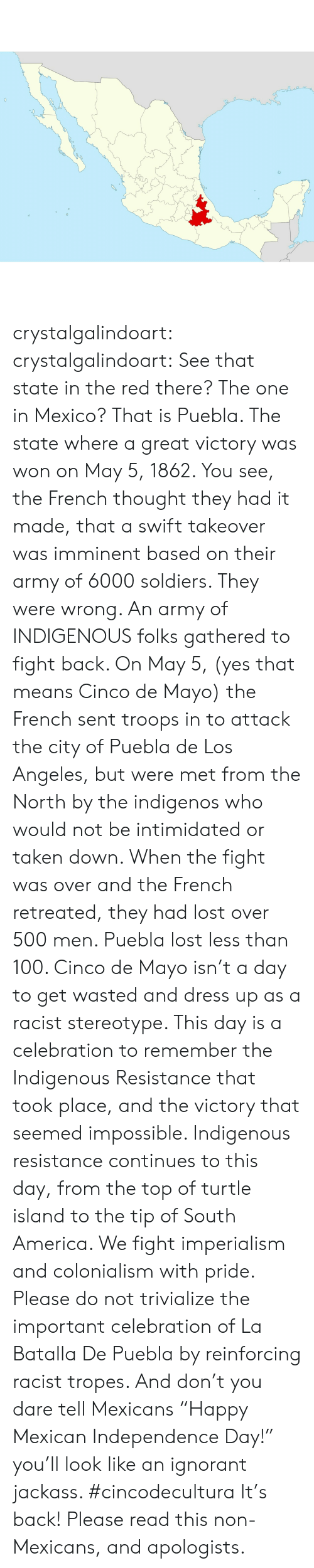 """America, Ignorant, and Independence Day: 40  0 crystalgalindoart:  crystalgalindoart:  See that state in the red there? The one in Mexico? That is Puebla. The state where a great victory was won on May 5, 1862. You see, the French thought they had it made, that a swift takeover was imminent based on their army of 6000 soldiers. They were wrong. An army of INDIGENOUS folks gathered to fight back. On May 5, (yes that means Cinco de Mayo) the French sent troops in to attack the city of Puebla de Los Angeles, but were met from the North by the indigenos who would not be intimidated or taken down. When the fight was over and the French retreated, they had lost over 500 men. Puebla lost less than 100.  Cinco de Mayo isn't a day to get wasted and dress up as a racist stereotype. This day is a celebration to remember the Indigenous Resistance that took place, and the victory that seemed impossible. Indigenous resistance continues to this day, from the top of turtle island to the tip of South America. We fight imperialism and colonialism with pride. Please do not trivialize the important celebration of La Batalla De Puebla by reinforcing racist tropes. And don't you dare tell Mexicans """"Happy Mexican Independence Day!"""" you'll look like an ignorant jackass. #cincodecultura   It's back! Please read this non- Mexicans, and apologists."""