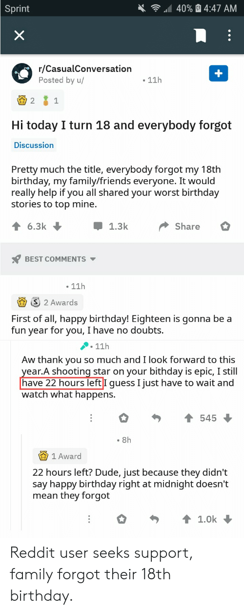 Aw Thank You: 40% 4:47 AM  Sprint  X  r/CasualConversation  Posted by u/  11h  2  1  Hi today I turn 18 and everybody forgot  Discussion  Pretty much the title, everybody forgot my 18th  birthday, my family/friends everyone. It would  really help if you all shared your worst birthday  stories to top mine.  6.3k  Share  1.3k  BEST COMMENTS  11h  2 Awards  First of all, happy birthday! Eighteen is gonna be a  fun year for you, I have no doubts.  11h  Aw thank you so much and I look forward to this  year.A shooting star on your bithday is epic, I still|  have 22 hours left I guess I just have to wait and  watch what happens.  545  8h  1 Award  22 hours left? Dude, just because they didn't  say happy birthday right at midnight doesn't  mean they forgot  1.0k Reddit user seeks support, family forgot their 18th birthday.