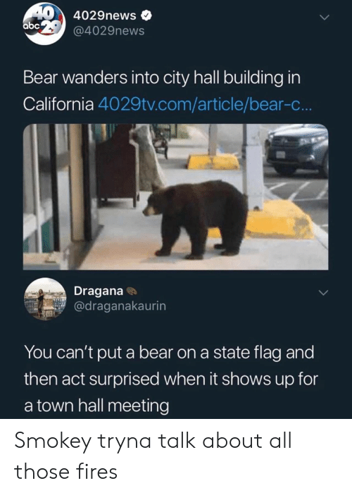Abc, Bear, and California: 40 4029news  abc @4029news  Bear wanders into city hall building in  California 4029tv.com/article/bear-c..  Dragana  @draganakaurin  You can't put a bear on a state flag and  then act surprised when it shows up for  a town hall meeting Smokey tryna talk about all those fires