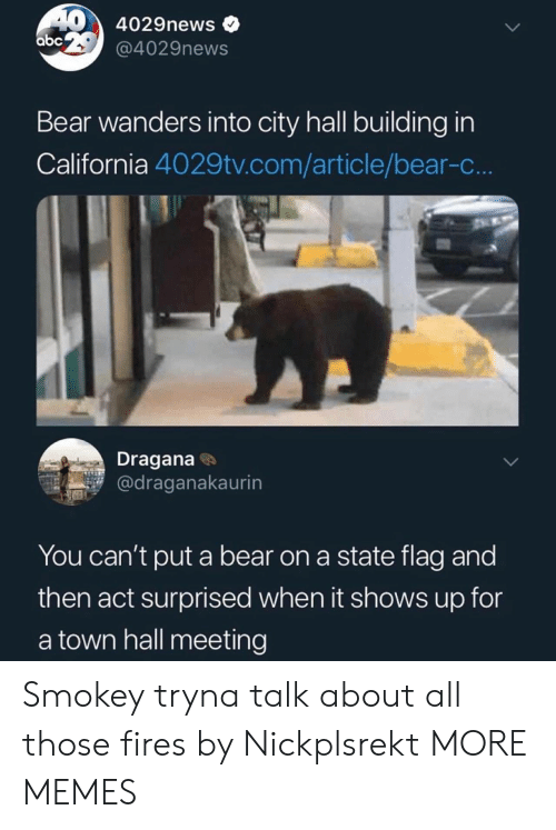 Abc, Dank, and Memes: 40 4029news  abc @4029news  Bear wanders into city hall building in  California 4029tv.com/article/bear-c..  Dragana  @draganakaurin  You can't put a bear on a state flag and  then act surprised when it shows up for  a town hall meeting Smokey tryna talk about all those fires by Nickplsrekt MORE MEMES