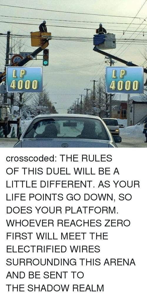 Life, Target, and Tumblr: 4000  4000 crosscoded: THE RULES OFTHIS DUEL WILL BE A LITTLE DIFFERENT. AS YOUR LIFE POINTS GO DOWN,SO DOES YOUR PLATFORM. WHOEVER REACHES ZERO FIRST WILL MEET THE ELECTRIFIED WIRES SURROUNDING THIS ARENA AND BE SENT TO THESHADOW REALM