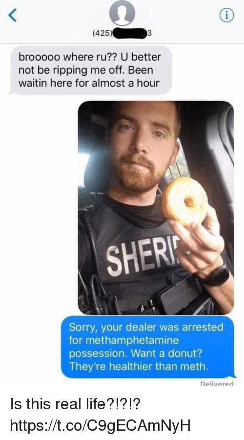 Funny, Life, and Sorry: (425)  brooooo where ru?? U better  not be ripping me off. Been  waitin here for almost a hour  SHER  Sorry, your dealer was arrested  for methamphetamine  possession. Want a donut?  They're healthier than meth.  Delivered Is this real life?!?!? https://t.co/C9gECAmNyH