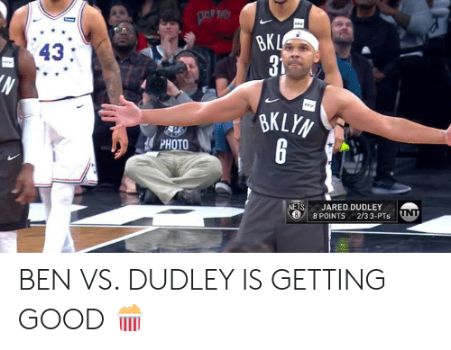 ets: 43:  PHOTO  ETS JARED DUDLEY  8 POINTS 2/3 3-PTs ND BEN VS. DUDLEY IS GETTING GOOD 🍿