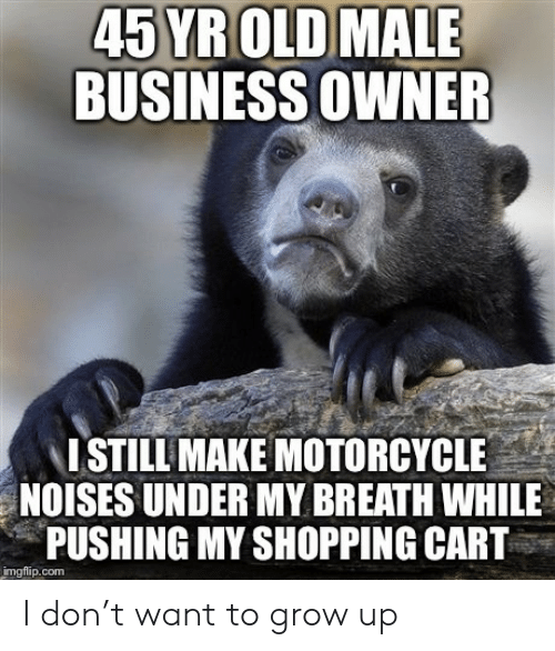 Shopping, Business, and Motorcycle: 45 YR OLD  BUSINESS OWNER  MALE  ISTILL MAKE MOTORCYCLE  NOISES UNDER MY BREATH WHILE  PUSHING MY SHOPPING CART  imgflip.com I don't want to grow up