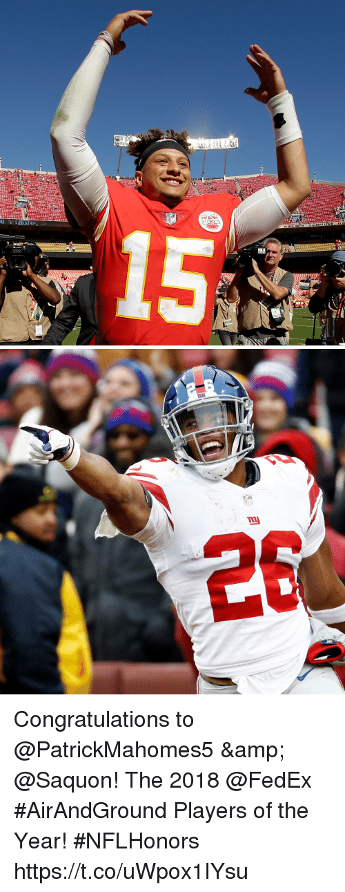 Memes, Nfl, and Congratulations: 47  1 C  ALBERT LEWI6  9O NEIL 8MITH  Crx   NFL  nu Congratulations to @PatrickMahomes5 & @Saquon!  The 2018 @FedEx #AirAndGround Players of the Year! #NFLHonors https://t.co/uWpox1IYsu