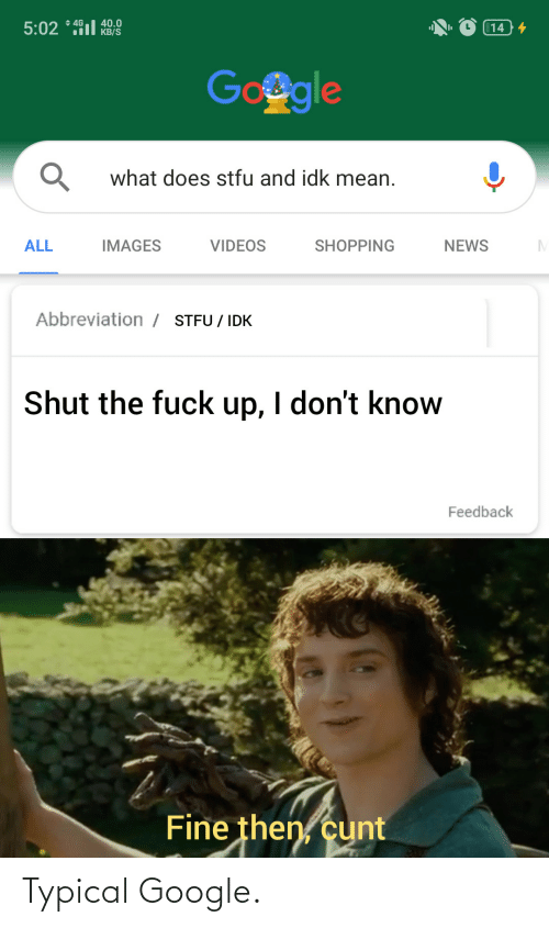 What Does: + 4G  40.0  KB/S  5:02 * 491l  14 4  Google  what does stfu and idk mean.  ALL  IMAGES  VIDEOS  SHOPPING  NEWS  Abbreviation / STFU / IDK  Shut the fuck up, I don't know  Feedback  Fine then, cunt Typical Google.