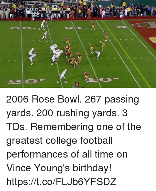USC: 4TH  1 USC 2 TEXAS  38 33  abo  :39  2ND & 10  2 2006 Rose Bowl. 267 passing yards. 200 rushing yards. 3 TDs.  Remembering one of the greatest college football performances of all time on Vince Young's birthday! https://t.co/FLJb6YFSDZ