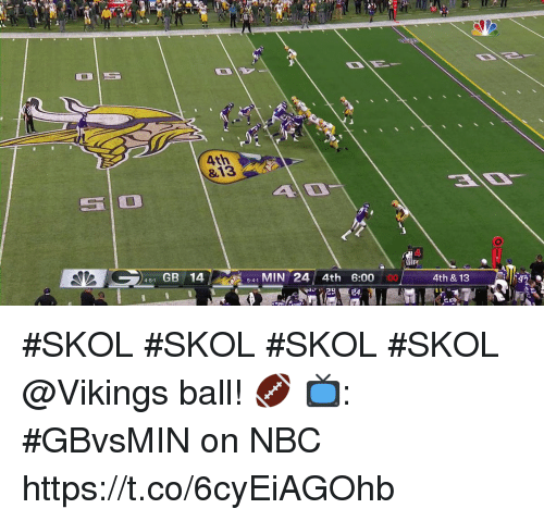 Memes, Vikings, and 🤖: 4th  &13  slo  51 GB 14  541 MIN 24 4th 6:00  4-5-1  4th & 13  รั2 #SKOL #SKOL #SKOL #SKOL @Vikings ball! 🏈  📺: #GBvsMIN on NBC https://t.co/6cyEiAGOhb