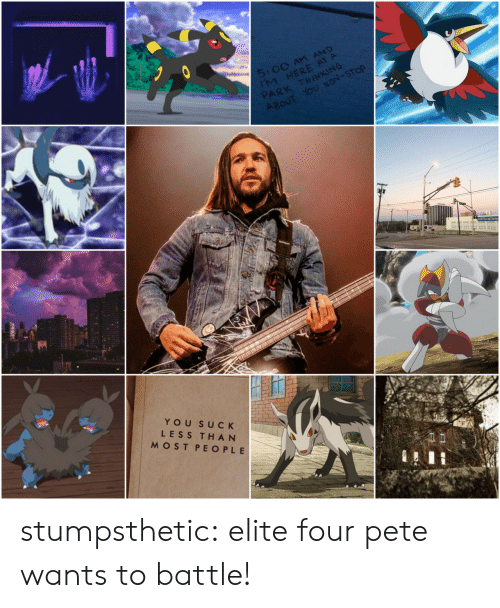 Tumblr, Blog, and Com: 5:00 An AND  IM HERE AT A  PARK THINKING  ABOUT YOU NON-STOP  IN Tire and Servio  YOU SUCK  LESS THAN  MOST PEOPLE stumpsthetic:  elite four pete wants to battle!
