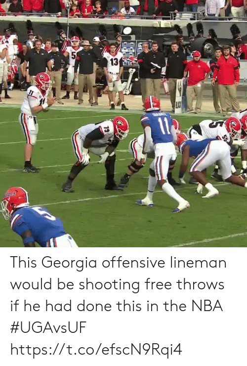 Georgia: 5  13  19 This Georgia offensive lineman would be shooting free throws if he had done this in the NBA #UGAvsUF https://t.co/efscN9Rqi4