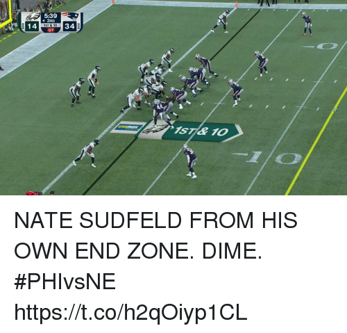 Memes, 🤖, and Own: 5:39  3RD  14  1ST & 10  07 NATE SUDFELD FROM HIS OWN END ZONE.  DIME. #PHIvsNE https://t.co/h2qOiyp1CL