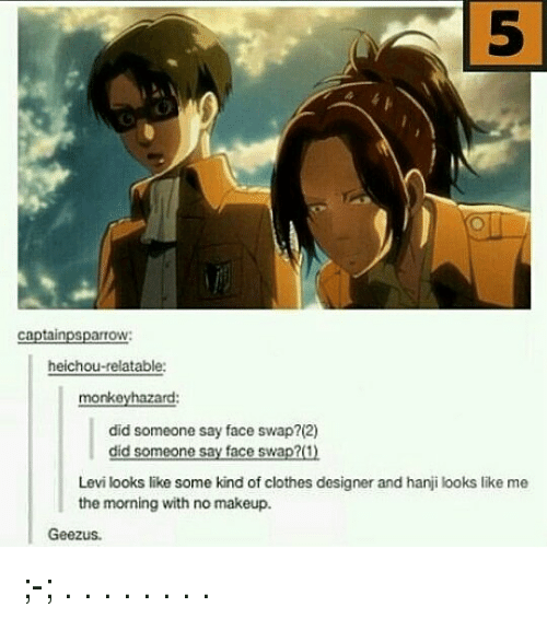 levie: 5  5  captainpsparrow:  heichou-relatable:  monkeyhazard:  did someone say face swap?(2)  did someone say face swap?(1)  Levi looks like some kind of clothes designer and hanji looks like me  the morning with no makeup.  Geezus ;-; . . . . . . . .
