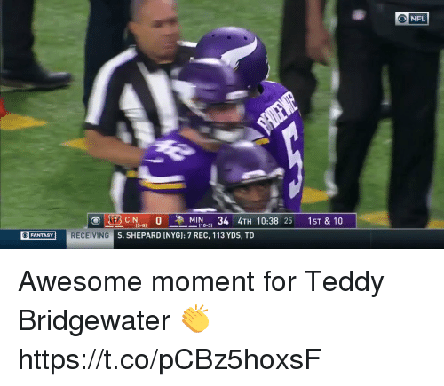 teddy bridgewater: (5-8)  [10-31  FANTASY  G S. SHEPARD INYG]: 7 REC, 113 YDS, TD Awesome moment for Teddy Bridgewater 👏  https://t.co/pCBz5hoxsF