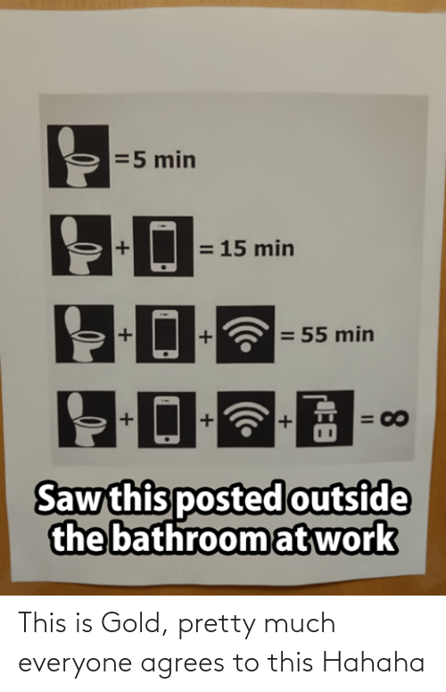 pretty much: =5 min  = 15 min  = 55 min  = 00  Saw this posted outside  the bathroom at work  8.  II This is Gold, pretty much everyone agrees to this Hahaha