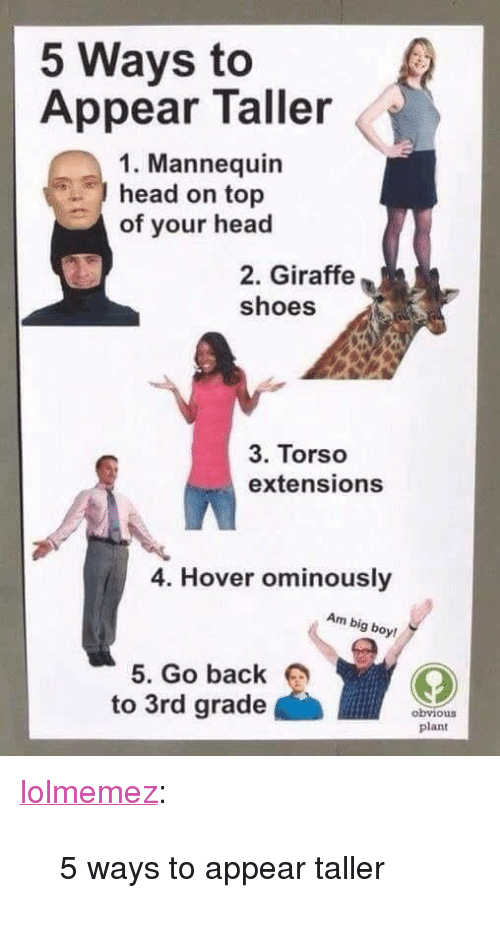 "Head, Shoes, and Target: 5 Ways to  Appear Taller  1. Mannequin  head on top  of your head  2. Giraffe  shoes  3. Torso  extensions  4. Hover ominously  Am big boy!  5. Go back  to 3rd grade  obvious  plant <p><a href=""http://lolmemez.tumblr.com/post/173984248666/5-ways-to-appear-taller"" class=""tumblr_blog"" target=""_blank"">lolmemez</a>:</p><blockquote><p>5 ways to appear taller </p></blockquote>"