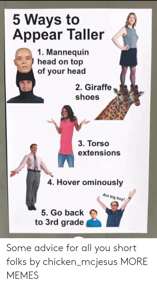Giraffe: 5 Ways to  Appear Taller  1. Mannequin  head on top  of your head  2. Giraffe  shoes  3. Torso  extensions  4. Hover ominously  Am big boy!  5. Go back  to 3rd grade Some advice for all you short folks by chicken_mcjesus MORE MEMES