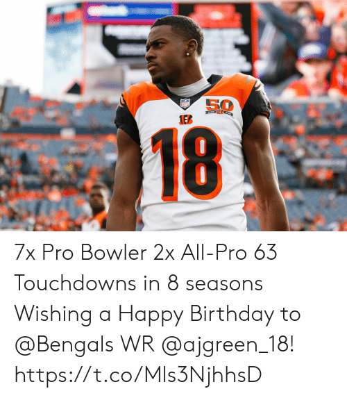 Bengals: 50  NFL  1EB  18 7x Pro Bowler 2x All-Pro 63 Touchdowns in 8 seasons  Wishing a Happy Birthday to @Bengals WR @ajgreen_18! https://t.co/Mls3NjhhsD