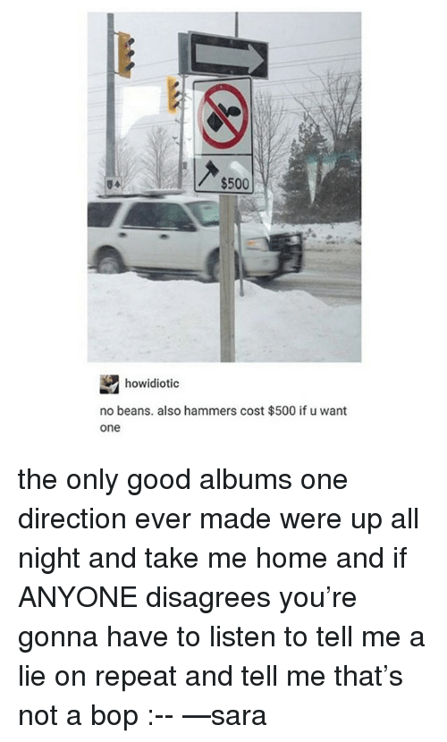 disagrees: $500  howidiotic  no beans. also hammers cost $500 if u want  one the only good albums one direction ever made were up all night and take me home and if ANYONE disagrees you're gonna have to listen to tell me a lie on repeat and tell me that's not a bop :-- —sara