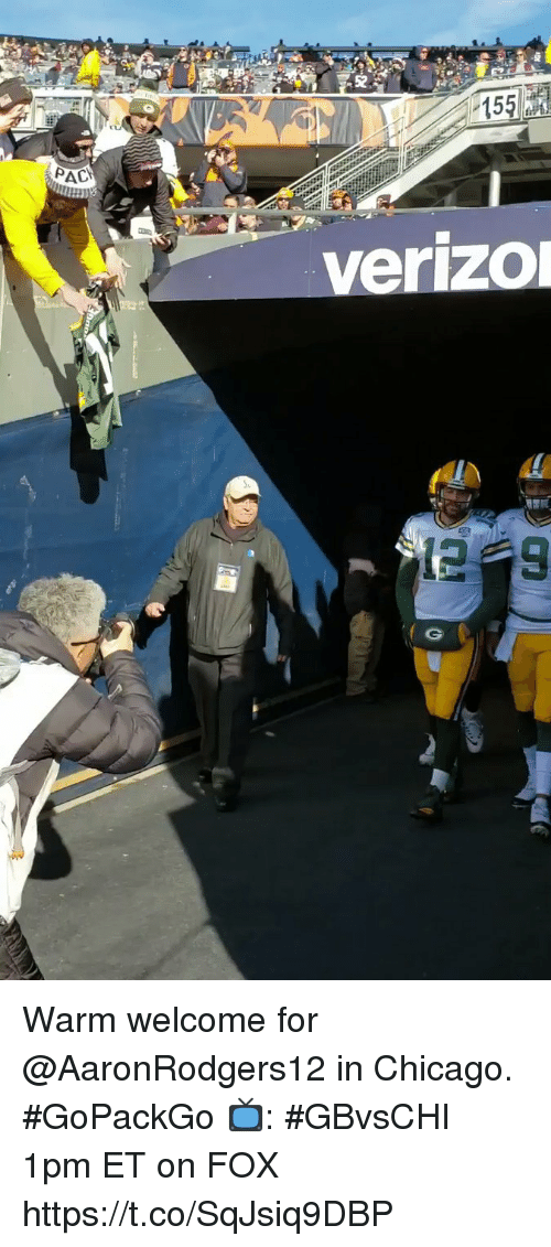 Chicago, Memes, and 🤖: 52  15  AC  verizo Warm welcome for @AaronRodgers12 in Chicago. #GoPackGo  📺: #GBvsCHI 1pm ET on FOX https://t.co/SqJsiq9DBP