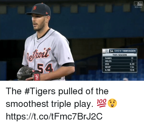 Drewing: 54 DREW VERHAGEN  THIS SEASON  GAMES  HOLDS  ERA  WHIP  K/BB  13  6.20  1.54  15/6 The #Tigers pulled of the smoothest triple play. 💯😲 https://t.co/tFmc7BrJ2C