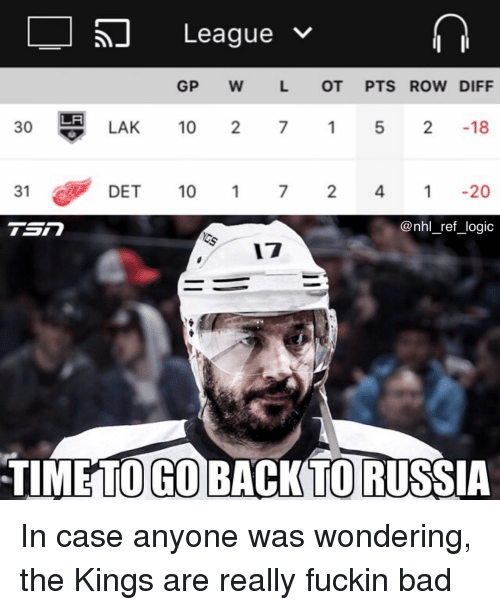 Bad, Logic, and Memes: 57 League  GP W L OT PTS ROW DIFF  30  LAK 10  7 1 5 2 18  31  DET 10  72 4120  @nhl_ref_logic  17  TIMETO GO BACK TO RUSSIA In case anyone was wondering, the Kings are really fuckin bad
