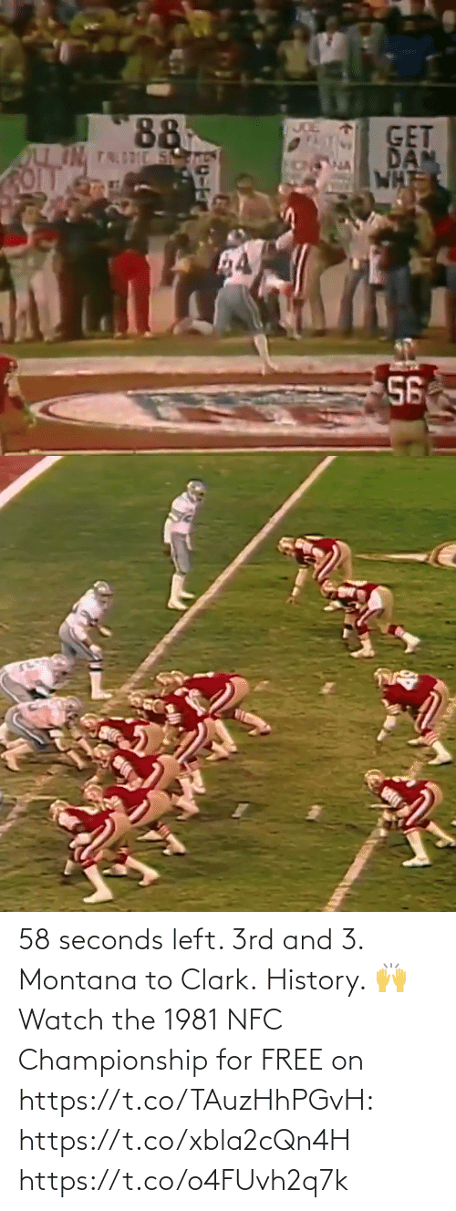 Clark: 58 seconds left. 3rd and 3. Montana to Clark. History. 🙌  Watch the 1981 NFC Championship for FREE on https://t.co/TAuzHhPGvH: https://t.co/xbla2cQn4H https://t.co/o4FUvh2q7k