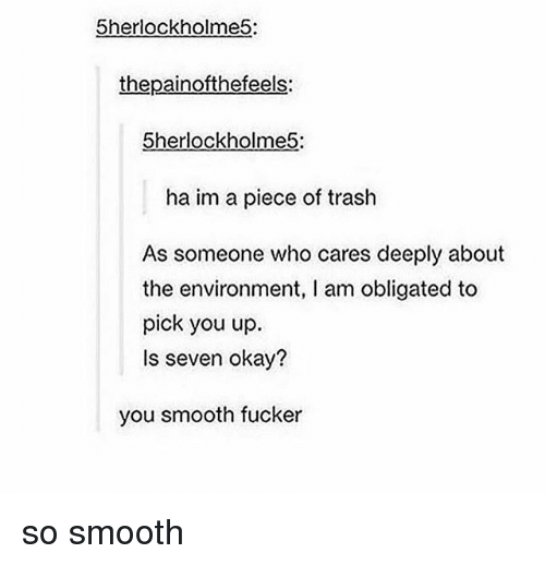Memes, Smooth, and Trash: 5herlockholme5:  thepainofthefeels:  5herlockholme5:  ha im a piece of trash  As someone who cares deeply about  the environment, I am obligated to  pick you up  Is seven okay?  you smooth fucker so smooth