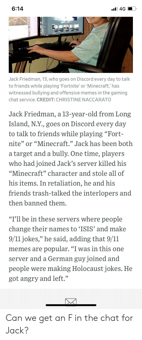 614 L 4G Jack Friedman 13 Who Goes on Discord Every Day to