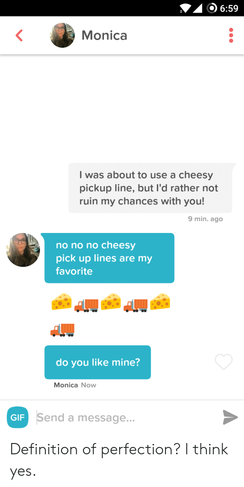 Chances: 6:59  Monica  I was about to use a cheesy  pickup line, but I'd rather not  ruin my chances with you!  9 min. ago  no no no cheesy  pick up lines are my  favorite  do you like mine?  Monica Now  Send a message...  GIF Definition of perfection? I think yes.