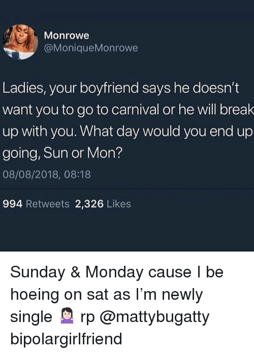 Going on a break with your boyfriend