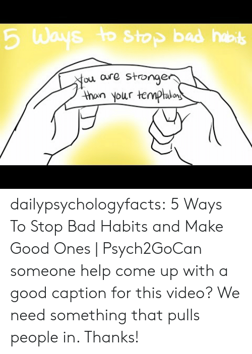 Bad, Tumblr, and youtube.com: 6 Ways to Stop bad hob  ou aure stronge  thon your temphlo dailypsychologyfacts:  5 Ways To Stop Bad Habits and Make Good Ones | Psych2GoCan someone help come up with a good caption for this video? We need something that pulls people in. Thanks!