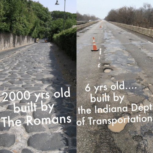 Yrs: 6 yrs old....  2000 yrs old  built by  built by  the Indiana Dept  The Romans of Transportation