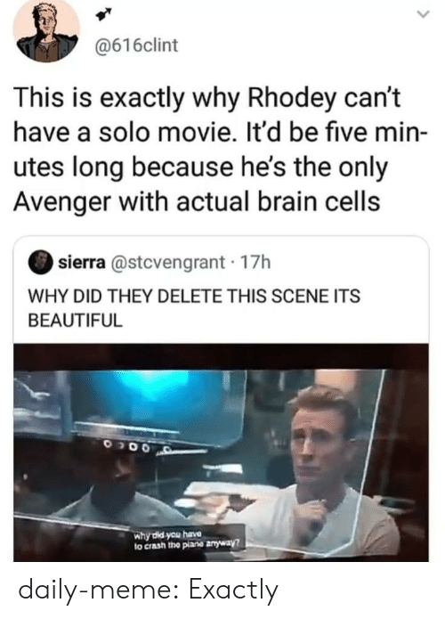 Beautiful, Meme, and Tumblr: @616clint  This is exactly why Rhodey can't  have a solo movie. It'd be five min-  utes long because he's the only  Avenger with actual brain cells  sierra @stcvengrant 17h  WHY DID THEY DELETE THIS SCENE ITS  BEAUTIFUL  why did you hava  to crash the plane anyway? daily-meme:  Exactly