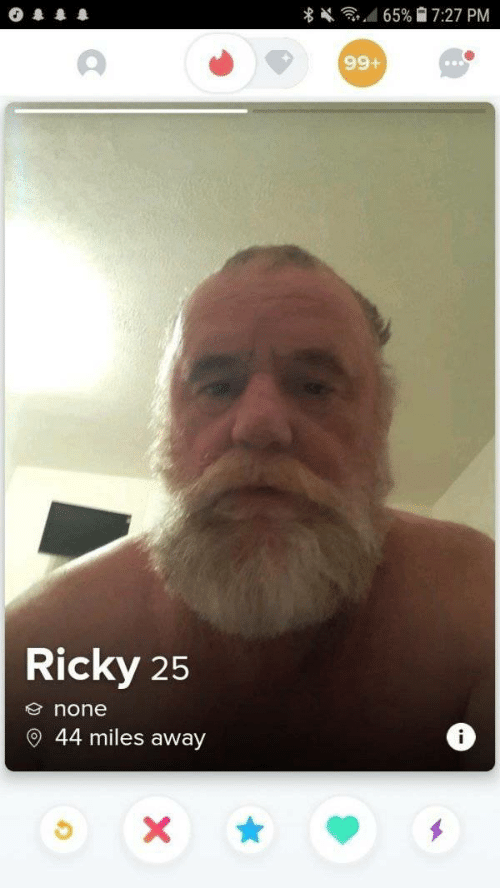 Ricky, Away, and  None: 65% 7:27 PM  +66  Ricky 25  none  44 miles away