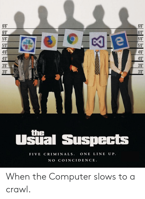 """Computer, Coincidence, and Crawl: 6'6""""  6'6  60""""  60""""  56""""  5'6  5'0  50""""  4'6  46  40""""  40""""  3'6  3'6  3'0""""  3'0  the  Usial Suspects  FIVE CRIM INA LS. ONE LINE UP  NO COINCIDENCE. When the Computer slows to a crawl."""