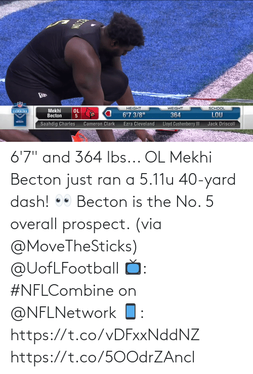 "lbs: 6'7"" and 364 lbs... OL Mekhi Becton just ran a 5.11u 40-yard dash! 👀   Becton is the No. 5 overall prospect. (via @MoveTheSticks) @UofLFootball  📺: #NFLCombine on @NFLNetwork 📱: https://t.co/vDFxxNddNZ https://t.co/5OOdrZAncl"