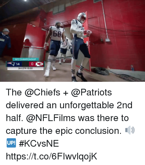 Otr: 68  AFC CHAMPIONSHIP  14  0  3rd OTR 15:00 The @Chiefs + @Patriots delivered an unforgettable 2nd half.  @NFLFilms was there to capture the epic conclusion. 🔊🆙 #KCvsNE https://t.co/6FIwvlqojK
