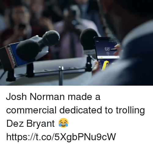 Joshed: 68 Josh Norman made a commercial dedicated to trolling Dez Bryant 😂 https://t.co/5XgbPNu9cW